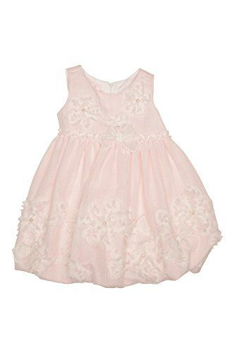 Biscotti Baby-Girl's Infant My Sweet Love Dress - White/Pink - Three-dimensional bows and flowers beautifully decorate this darling baby dress in a subtle pink and white windowpane check fabric. Perfect for birthday parties and special visits with grandma!