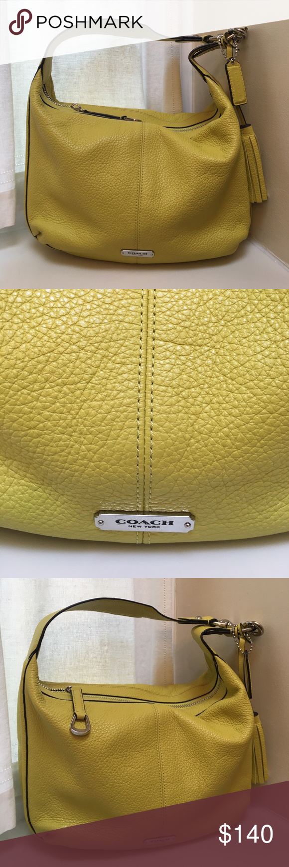 Authentic Coach Citron Summer Pebbled Hobo Bag Authentic Coach Citron Summer Pebbled Leather Hobo Bag. Citron is a yellowish/green color perfect for summer!! Hardware is silver and inside lining is a silky khaki color. No dust Bag. Inside is perfect, only worn a few times. Two small pin size marks as pictured. Coach Bags Hobos