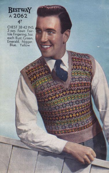 bb9bbc0fa3ae42 Men s Fair Isle sweater vest knitting pattern (1940s).  vintage  menswear   fashion  guys  knitting  sweaters