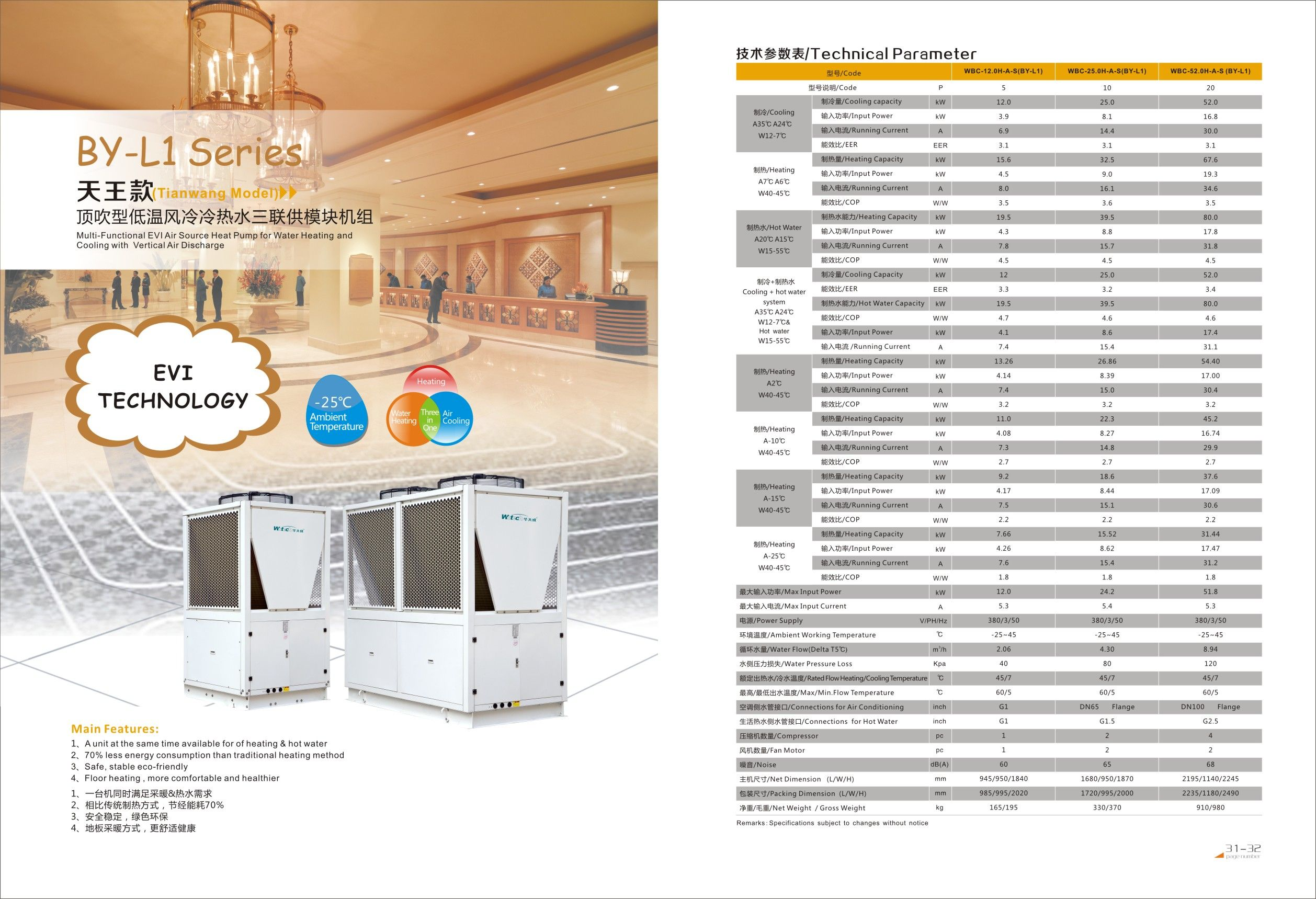 Wotech Heat Pump By L1 Series Evi Technology Multi Functional Evi