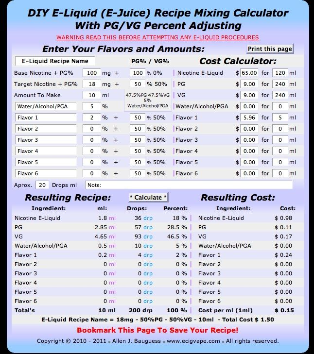 Online diy ejuice mixing calculator electronic cigarettes and vape solutioingenieria Images