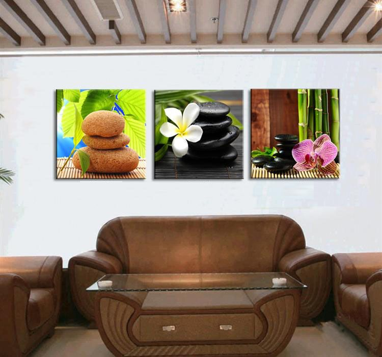 Art decor 3 panels stone flower wall art pictures modern still life canvas oil painting printed