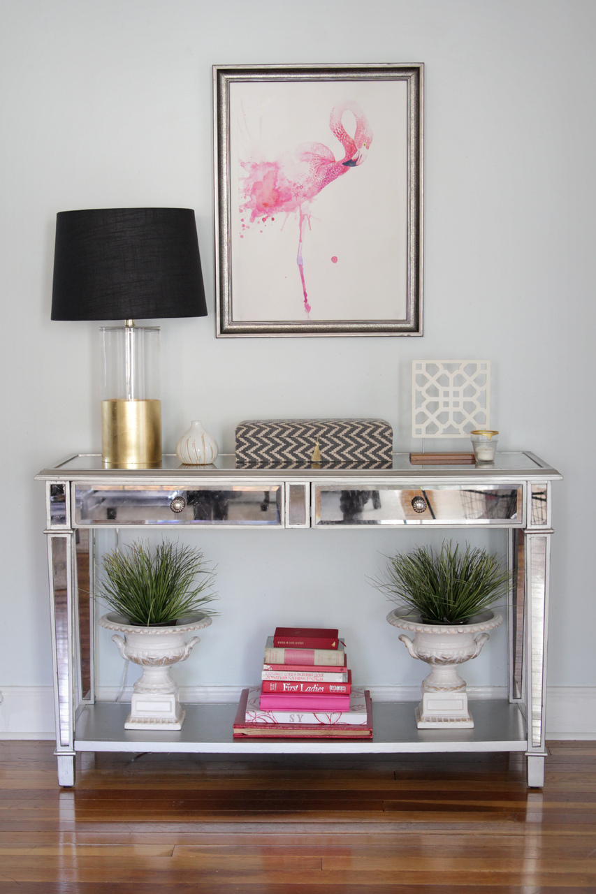 Glass console table decor  Style At Home With Heather Freeman  interior design ideas
