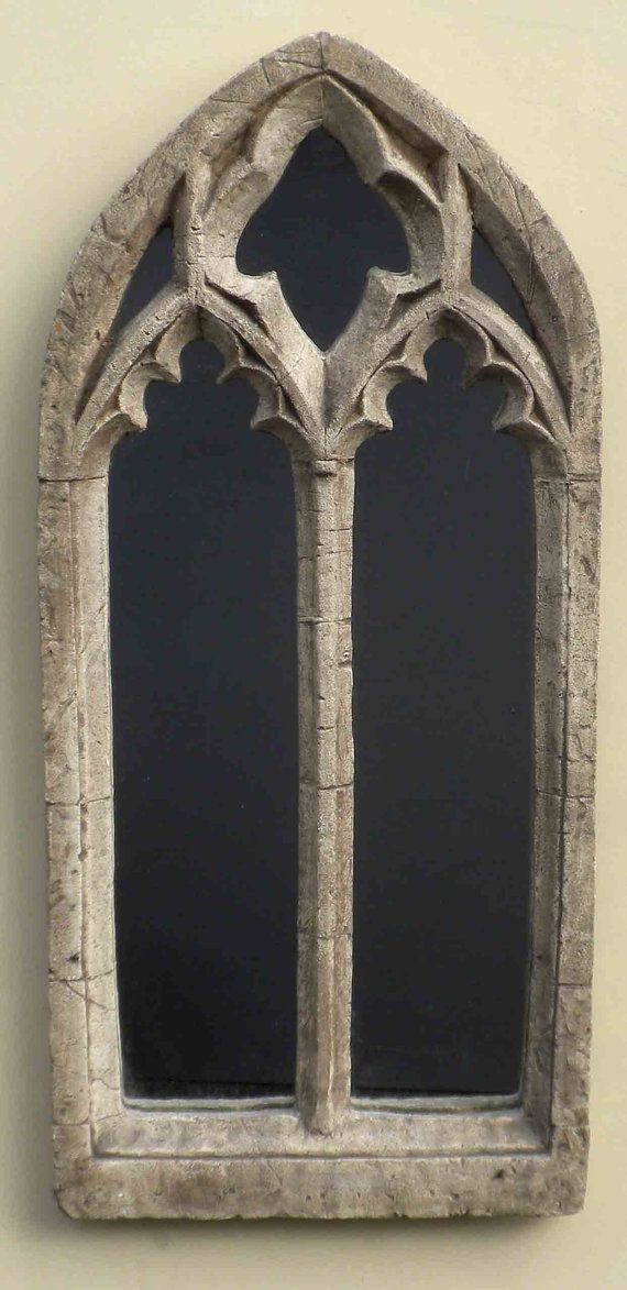d381f9779a5d Gothic church window frame Mirror,double arch ornate, 32 inches high,  vintage…