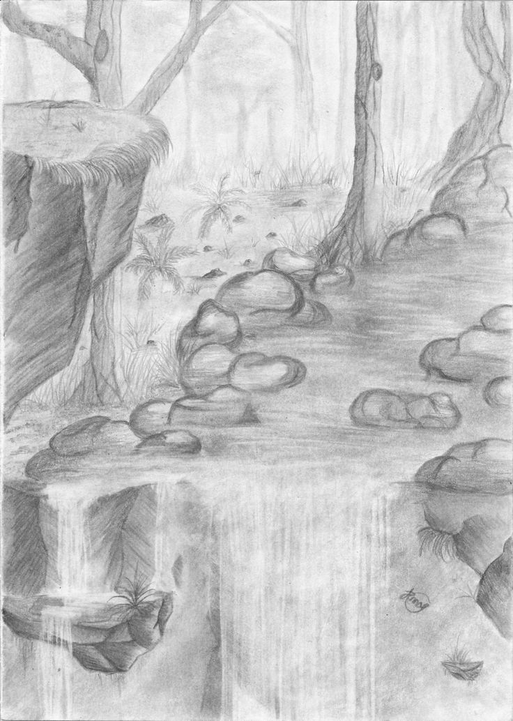 Easy pencil drawings of waterfalls waterfall pencil drawing