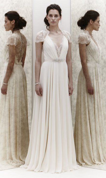 Jenny Packham - Dentelle Beautifully elegant, vintage style A-line silk chiffon wedding dress with plunging v-neck with lace accents, and gentle lace cap sleeves and sheer lace back panel