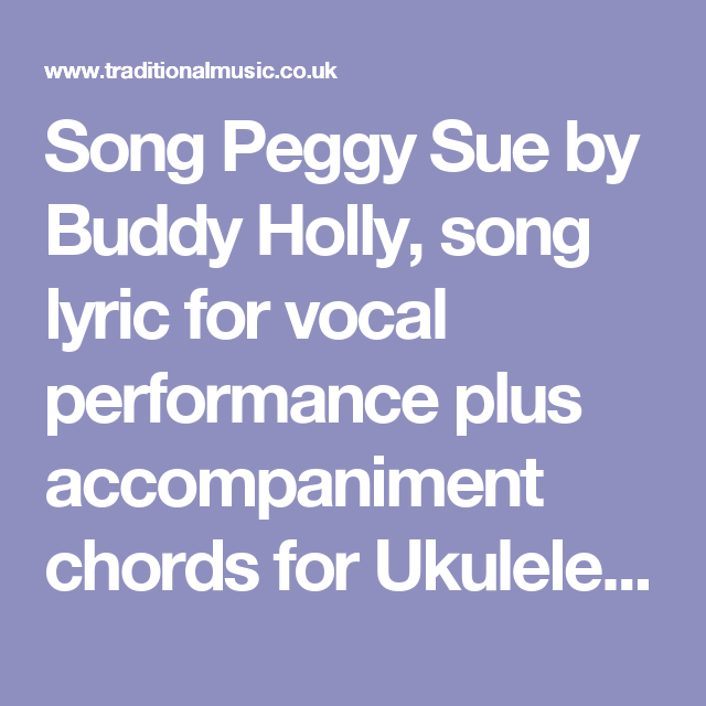 Song Peggy Sue By Buddy Holly Song Lyric For Vocal Performance Plus