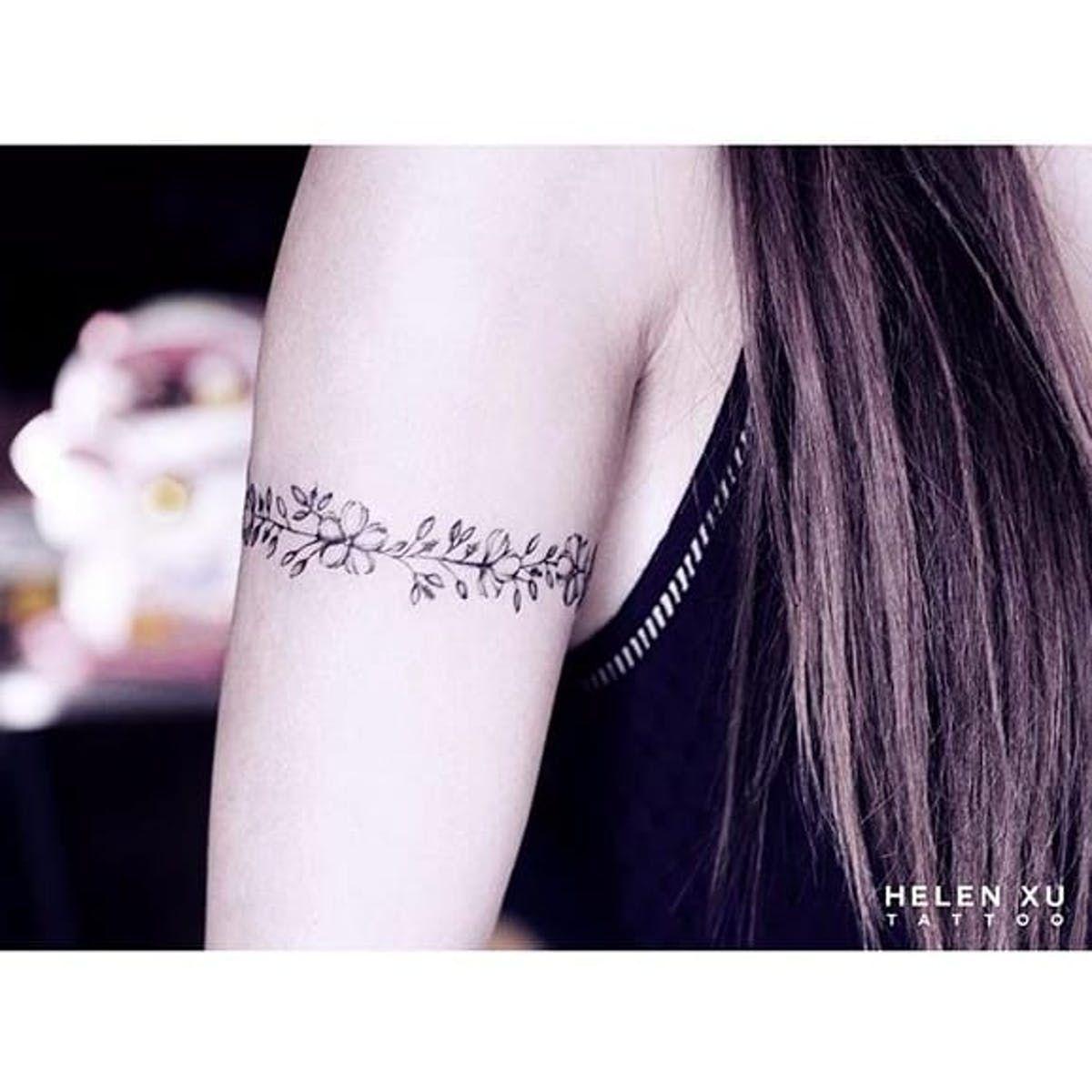 Floral armband tattoo by Helen Xu via Instagram helenxu