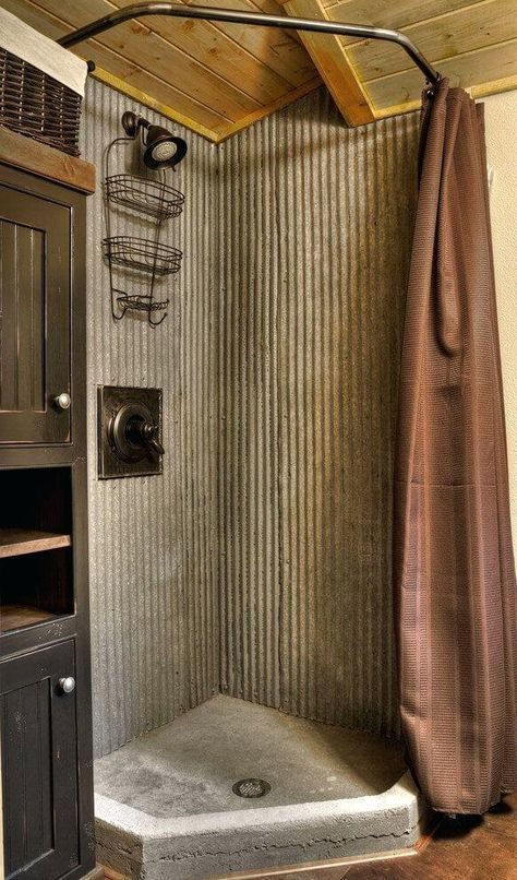 Corrugated Metal Bathroom Stalls New Cabin Bathrooms Concrete Shower Small Bathroom Remodel