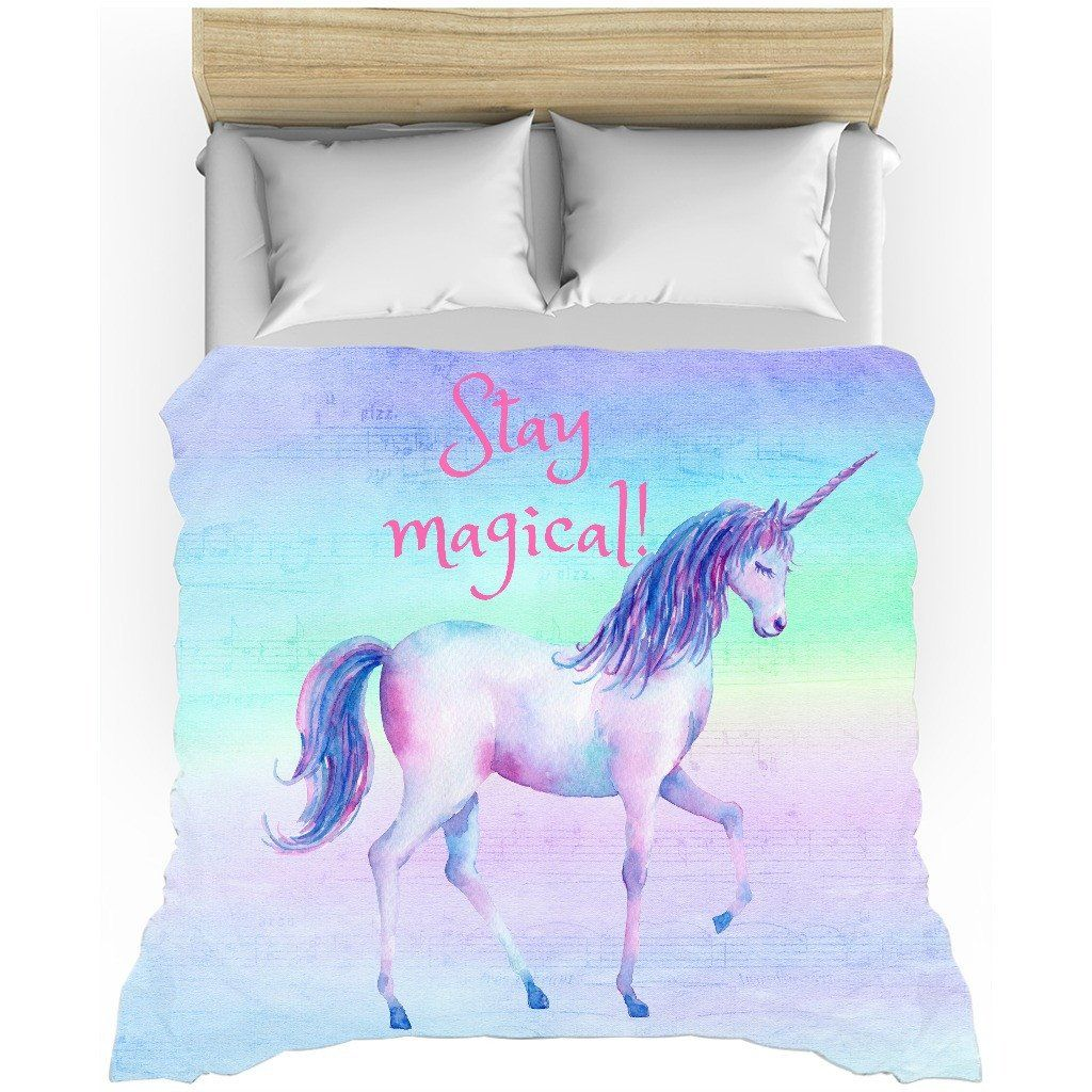 stay magical, rainbow, unicorn, duvet cover, twin duvet cover