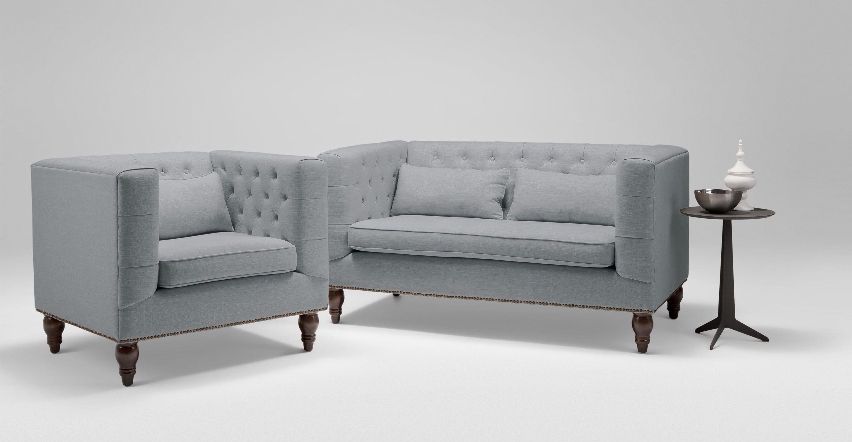 Flynn 2-Sitzer Sofa, Graublau
