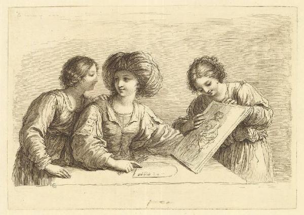 da Guercino-Una donna in atto di mostrare un disegno ad altre due donne