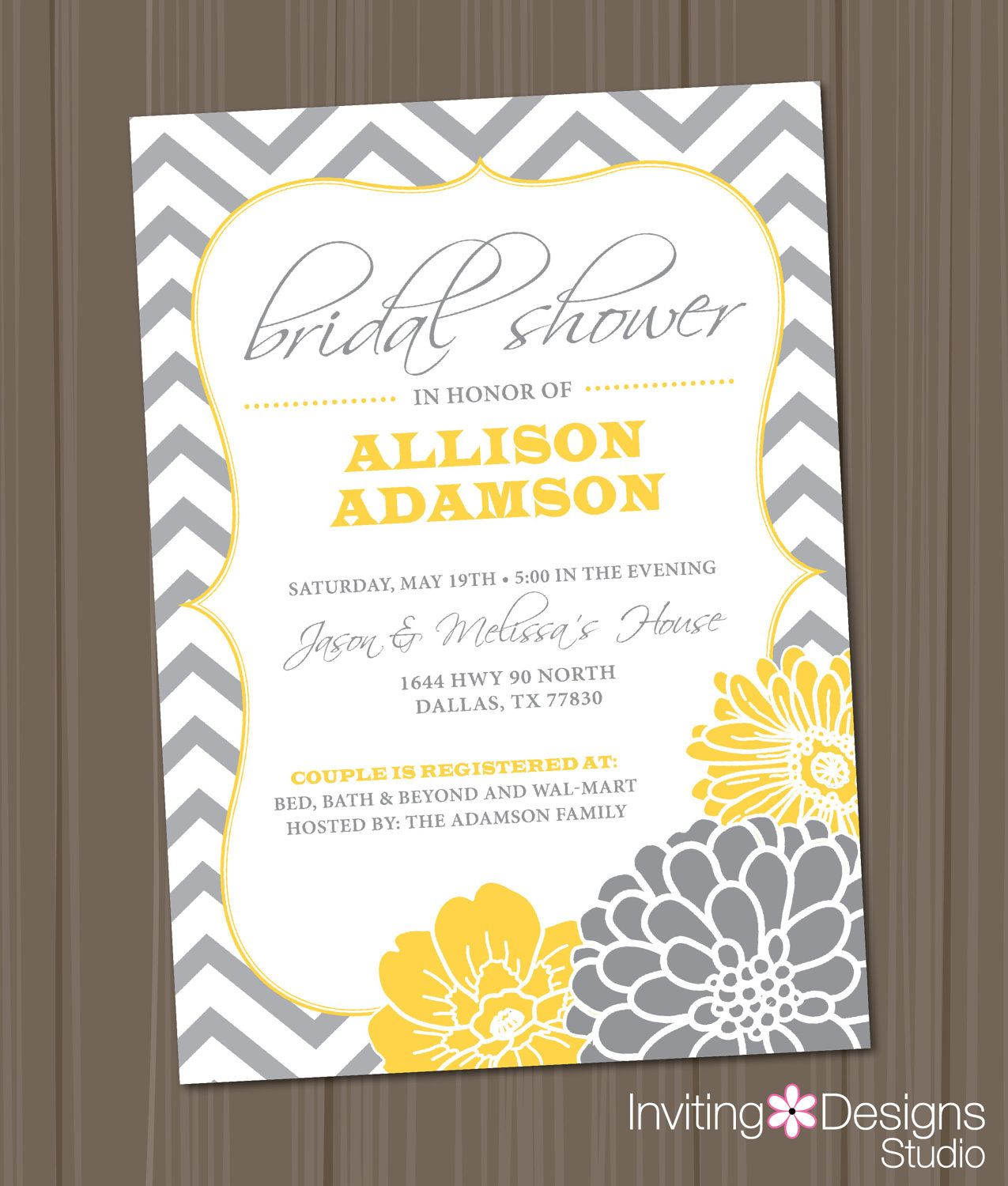 Bridal Shower Invitation, Chevron, Yellow, Grey (PRINTABLE FILE ...