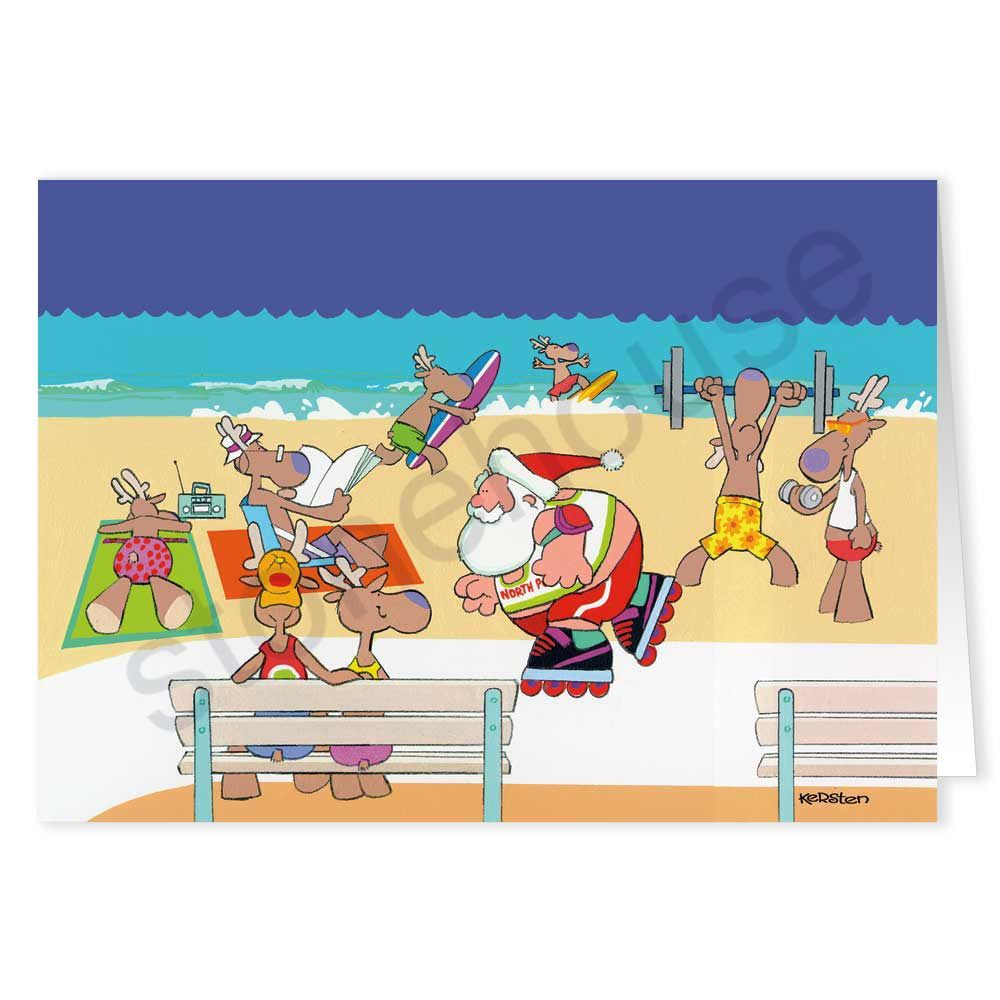 Beach boardwalk roller blading holiday greeting cards and santa beach boardwalk beach christmas cardshappy kristyandbryce Gallery