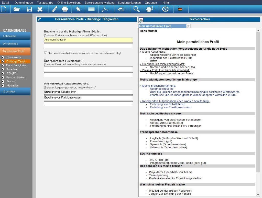 Die Software erstellt individuelle Bewerbungsunterlagen inkl ...