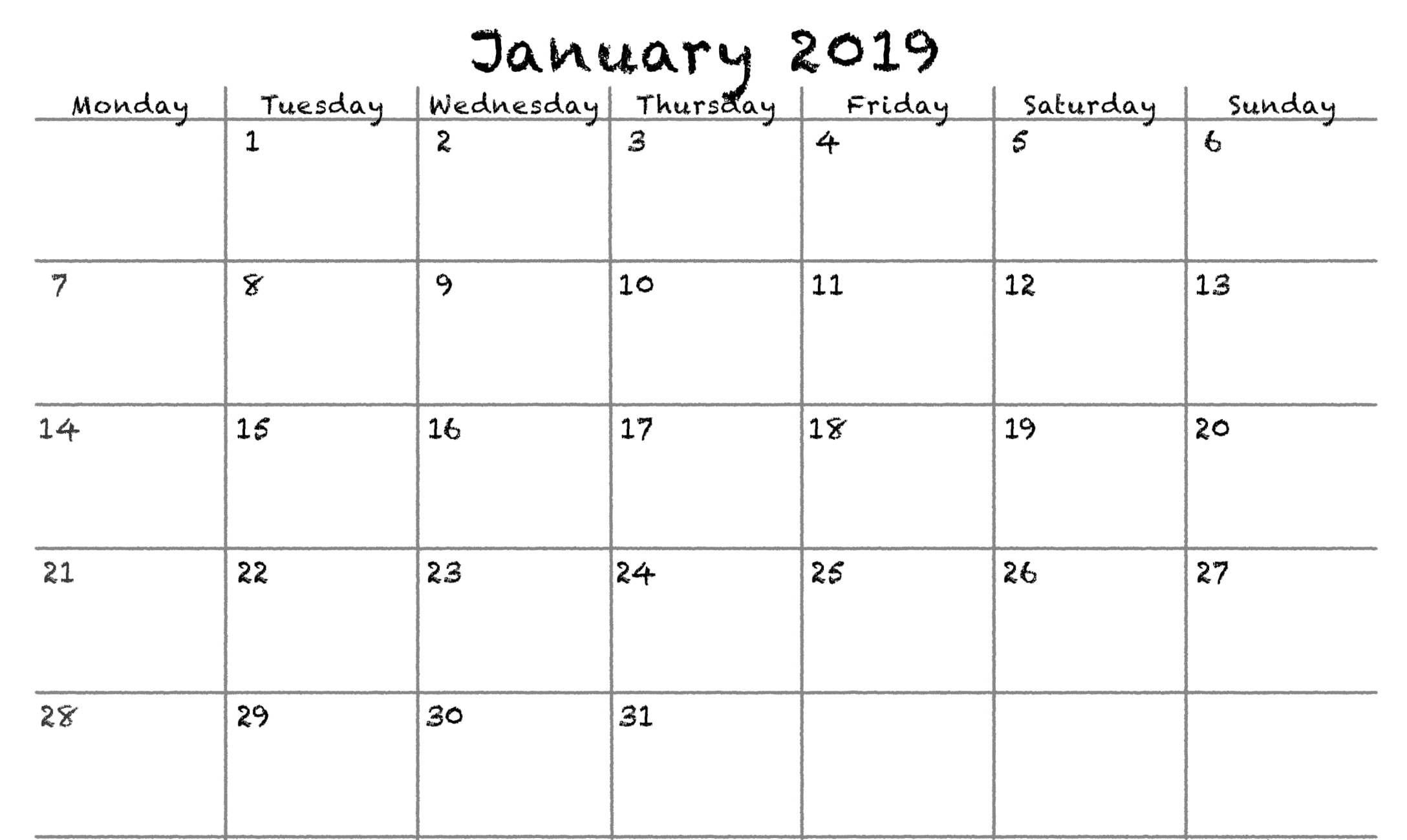 Blank Calendar January 2020 Pdf Printable Template Blank