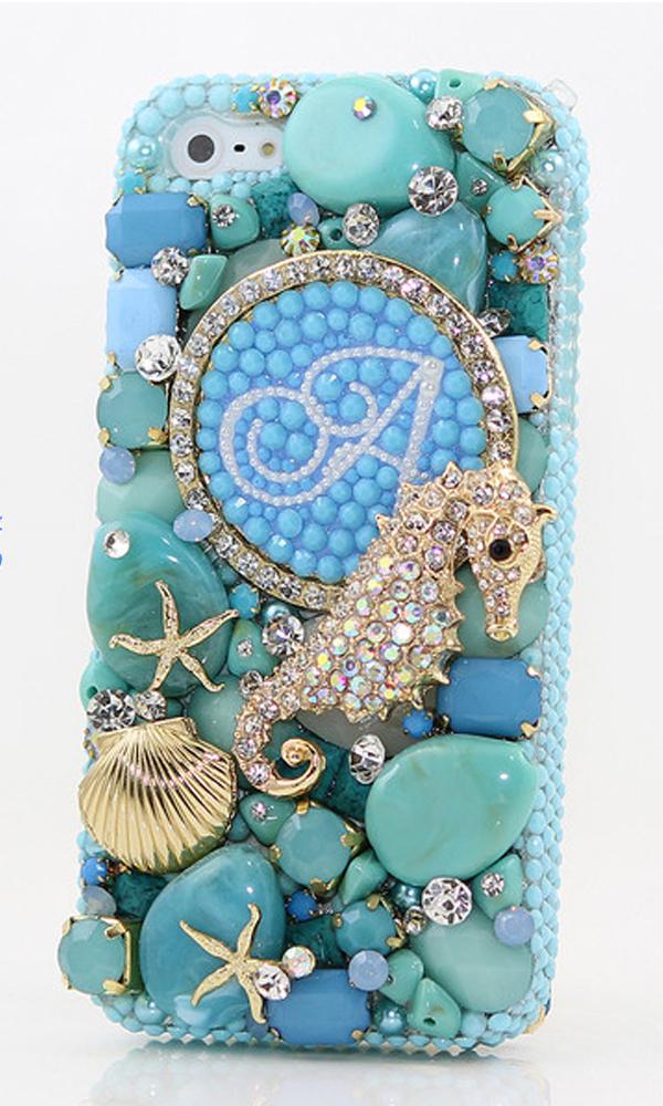 3d diamond seahorse personalized monogram design style mo for Case design