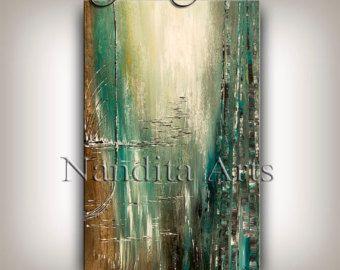 Paisaje pintura abstracta arte amapolas por ContemporaryArtDaily