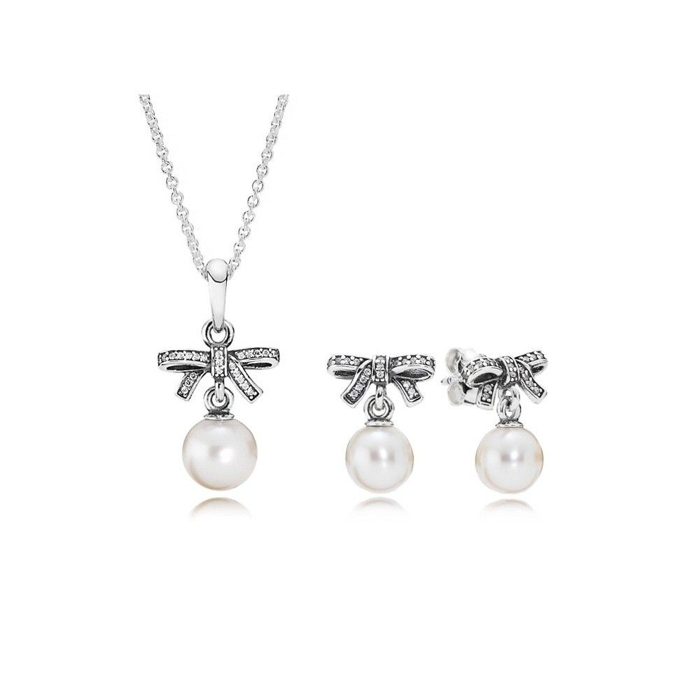 Pandora silver pearl bow pendant and earrings set b800189 th pandora silver pearl bow pendant and earrings set b800189 th baker family jewellers mozeypictures