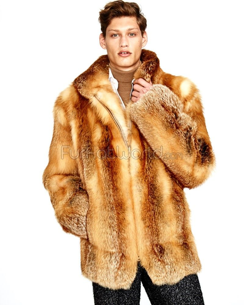 Mid Length Red Fox Fur Coat for Men: FurHatWorld.com | Men's fur ...