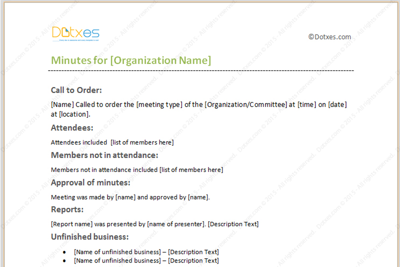 meeting minutes template with formal format featured image iqas