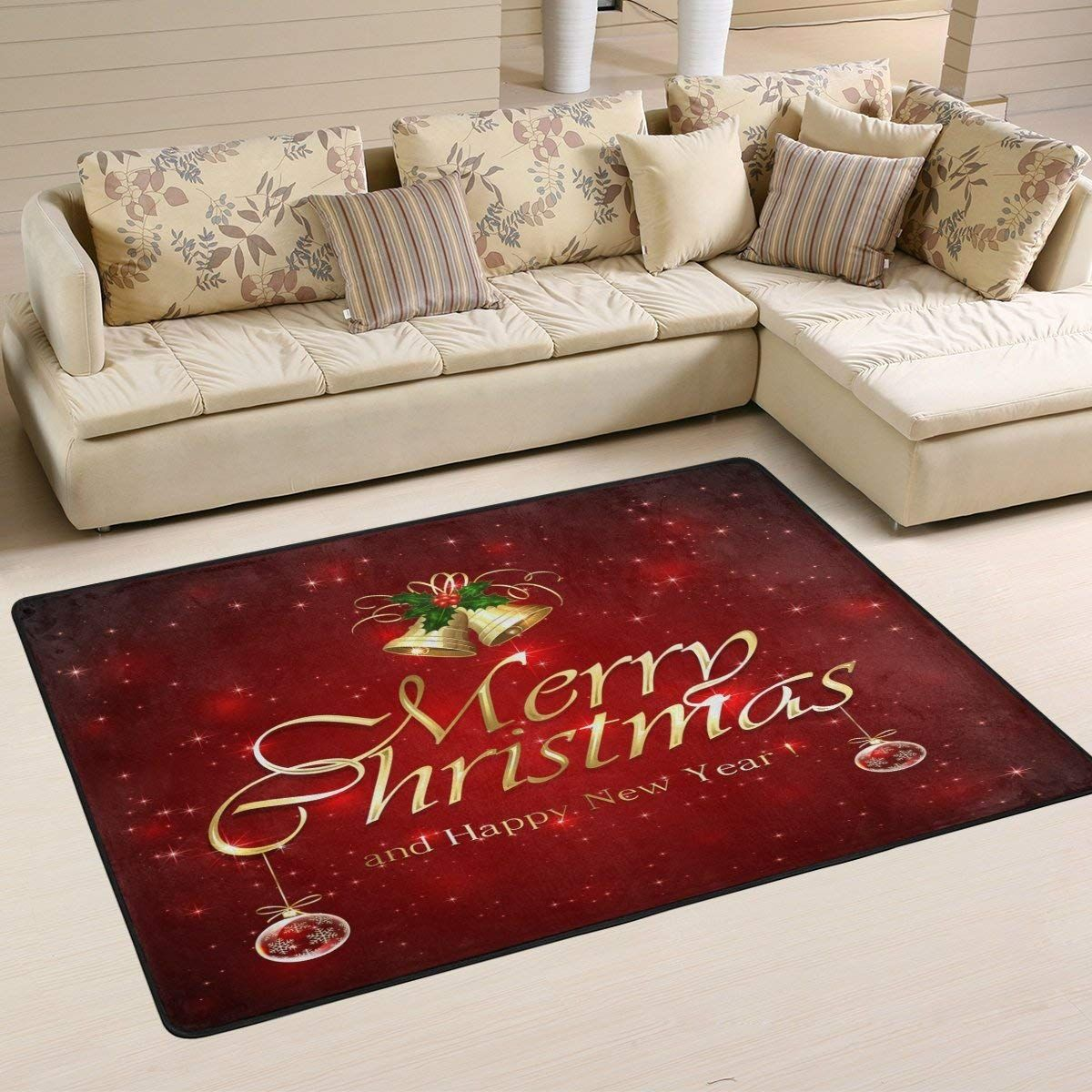 ALAZA Red Starry Merry Christmas Area Rug Rugs Mat for ...