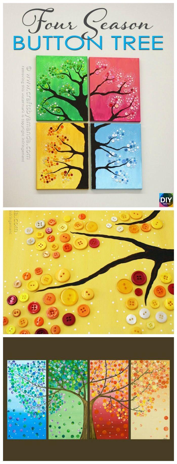 4 Seasons Button Tree Wall Art DIY Tutorial | Pinterest | Tree wall ...