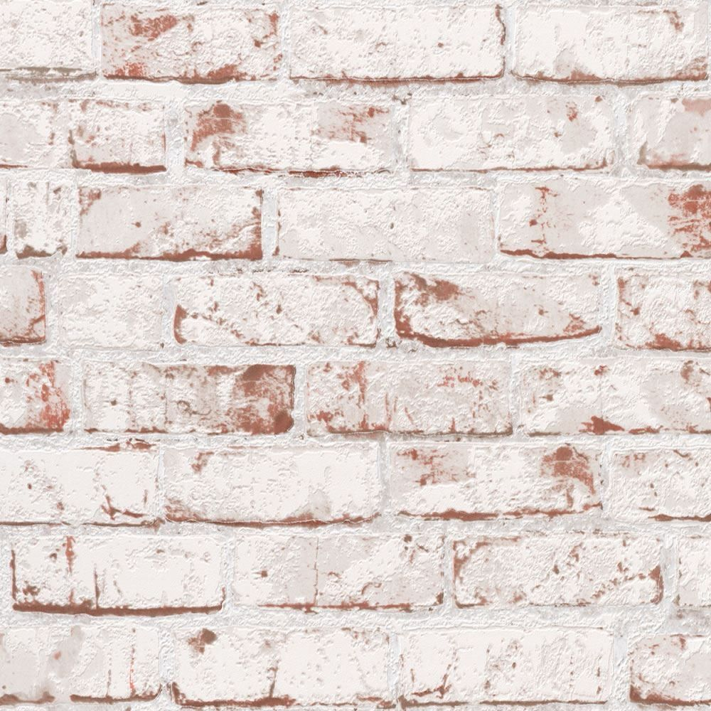 White Brick Wallpaper Kitchen: Red / White - 9078-13 - Brick