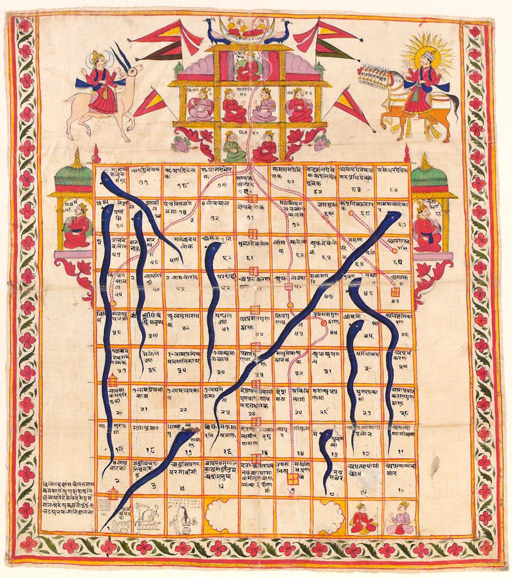 Game Of Snakes Ladders Gouache On Cloth India 19th C The