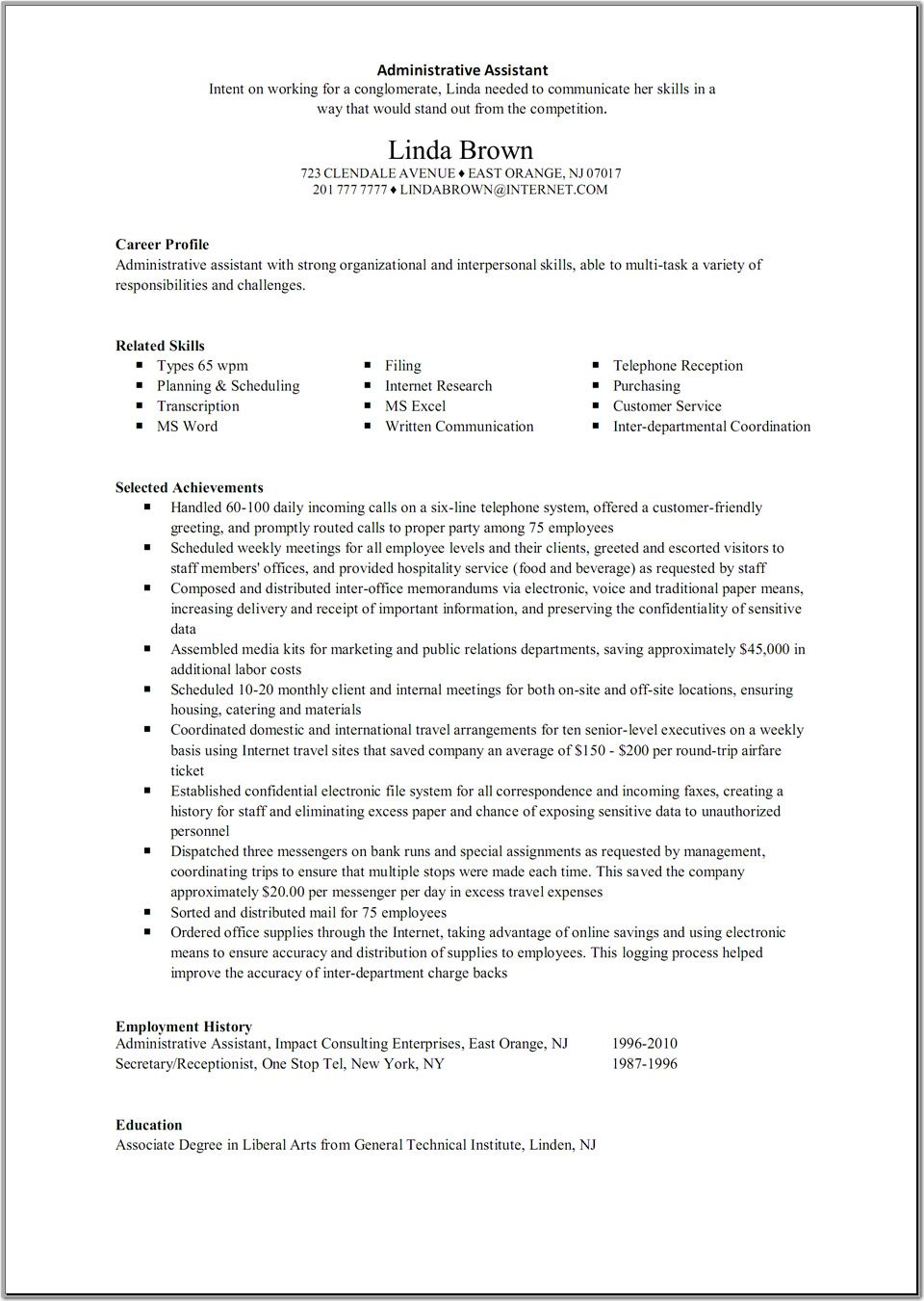 Example Administrative Assistant Resume Great Administrative Assistant Resumes Administrative Assistant