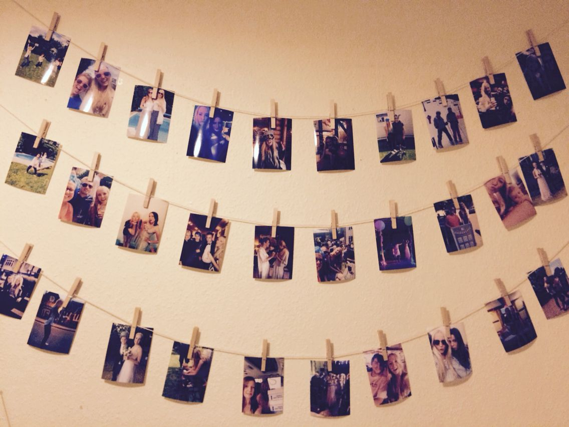 Hang Pictures On String With Vintage Wooden Pegs Office