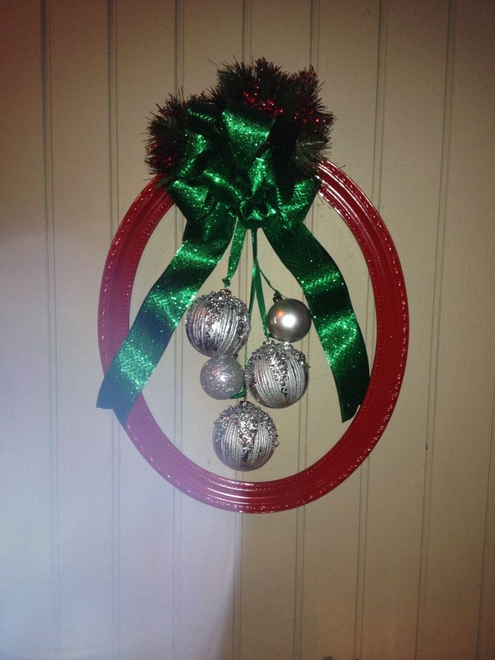 christmas wreath all supplies from hobby lobby found an open frame on sale for 13 the wire ribbon and ornaments were all 12 and a can of bright cheery - Wire Wreath Frame Hobby Lobby