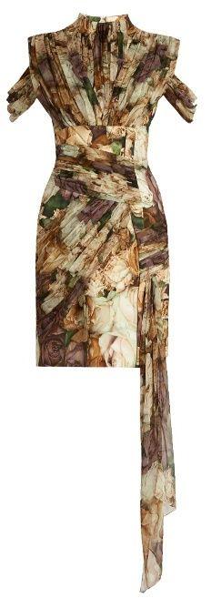 CHRISTOPHER KANE Wilted Rose-print draped wrap dress