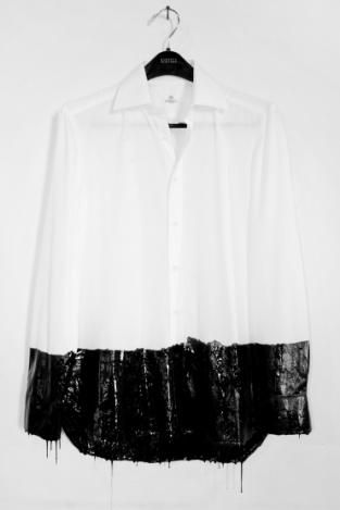 see through button down collar tee shirt crafted from chiffon, with shredded glossy leather finishing at the hemline.