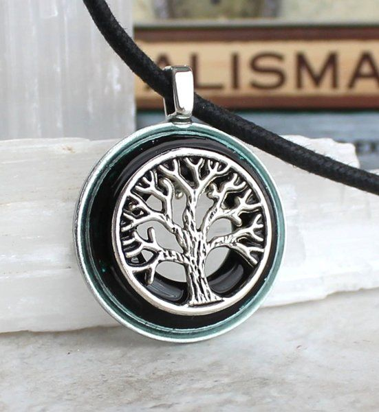 Black and silver tree of life necklace
