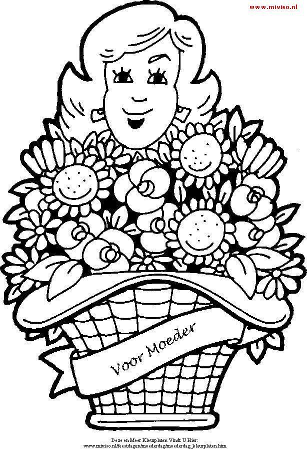 kleurplaat een grote mand vol bloemen voor moederdag