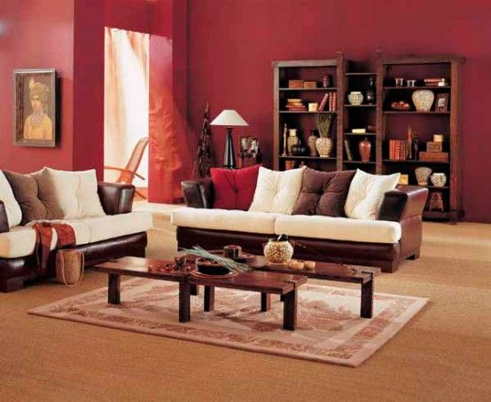 I Really Like The Dark Wood Furniture But Against A Sand Colored Surface Red Is A Bit Too Dr Indian Living Rooms Cozy Living Room Warm Minimalist Living Room