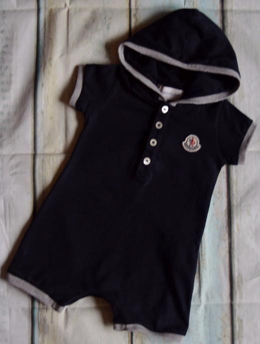 Moncler Baby Boys Designer Navy Blue Hooded Romper Suit 0-6 Months Vgc 0-3-6 Cotton