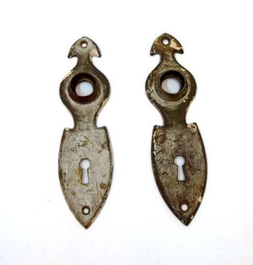 Pair of Shabby Chic Art Deco Door Knob Back Plates Rustic Door ...
