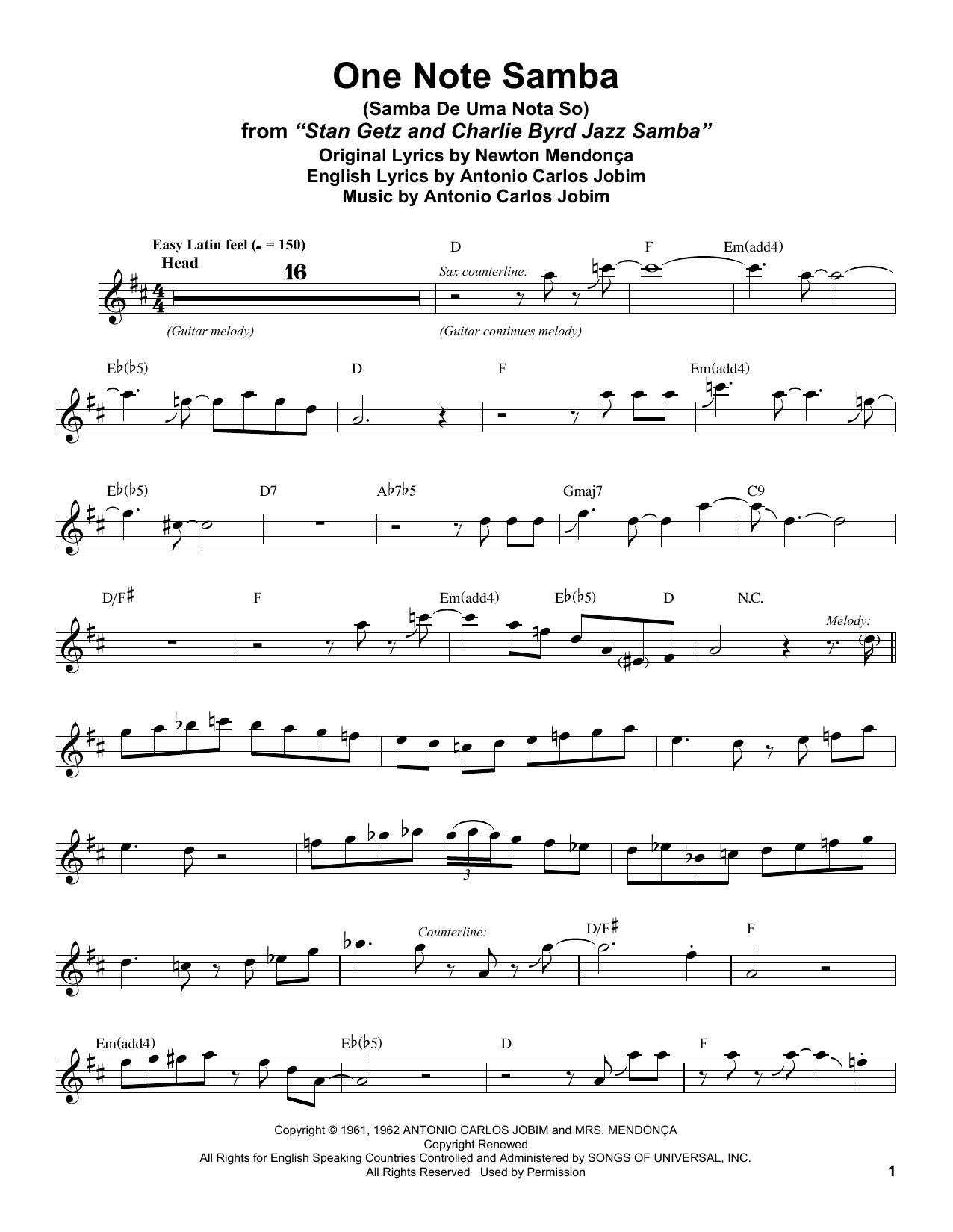 Stan Getz One Note Samba Samba De Uma Nota So Sheet Music Notes
