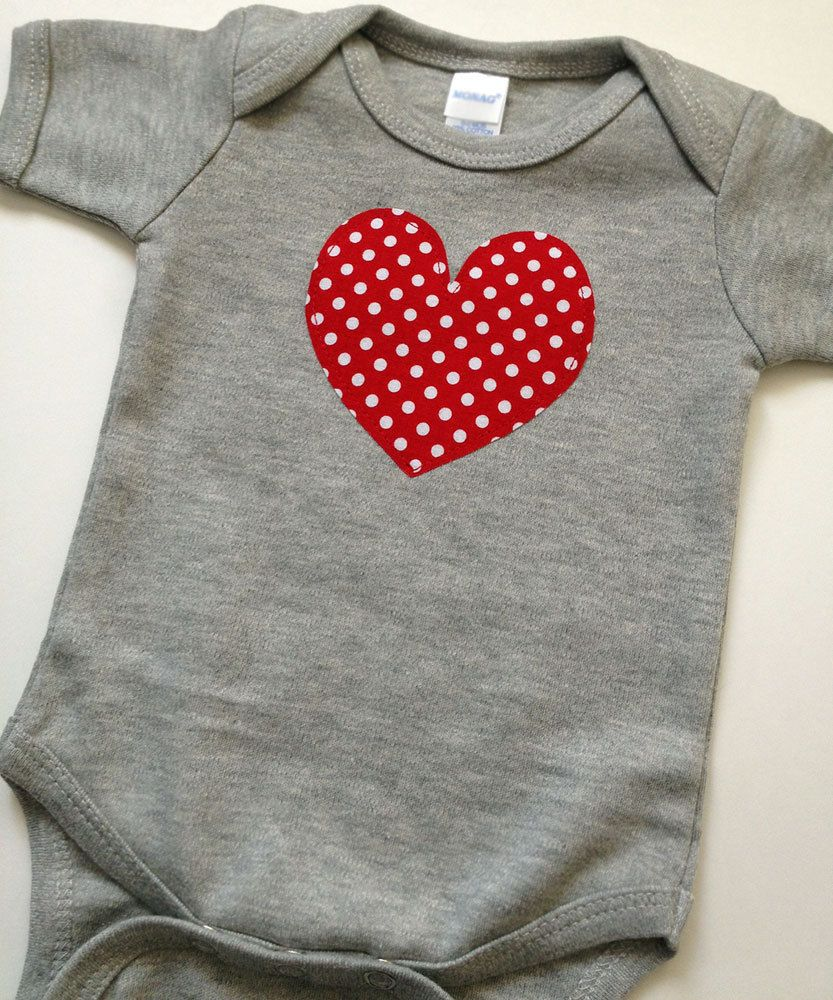 9bb2f6d2e Baby Heart Bodysuit - Size 0-3 Months - Gray and Red Valentine's Day ...
