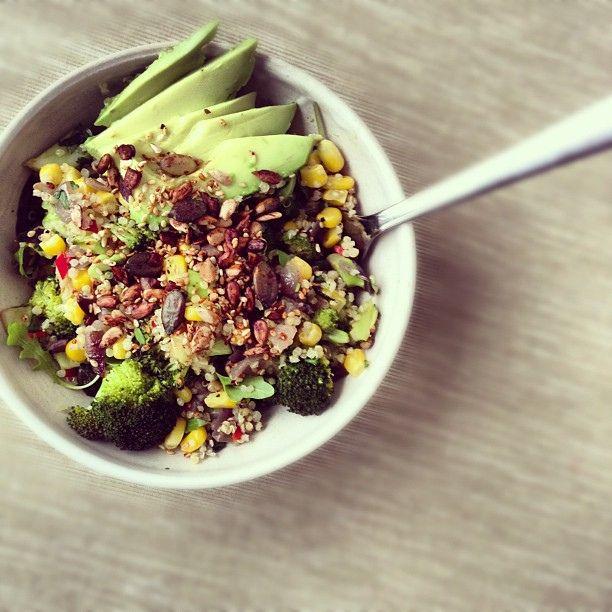 Savoury Vegan Breakfast Salad With Quinoa Broccoli Sweet Corn Basil Chilli Toasted Seeds Avocado Healthy Vegan Breakfast Whole Foods Vegan Savory Vegan