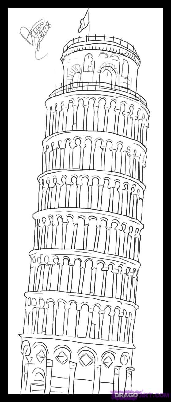 How To Draw The Leaning Tower Of Pisa Step By Step Famous Places Landmarks Places Free Online Drawing Tutorial Pisa Leaning Tower Of Pisa Leaning Tower