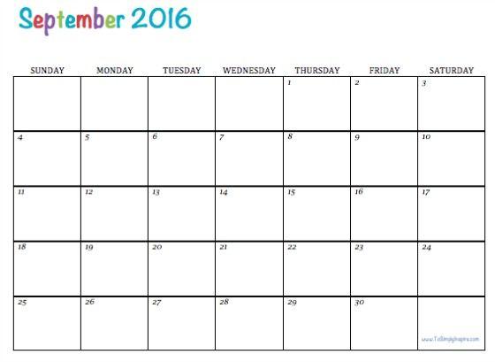 Free Printable 2016 Calendars Monthly Calendar Template