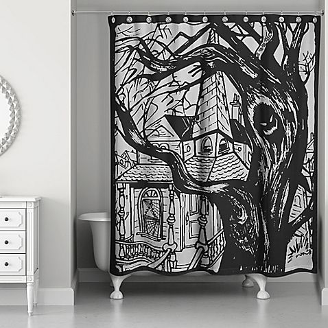 Express Your Spooky Side During Halloween With The Haunted House Shower Curtain This Eerie