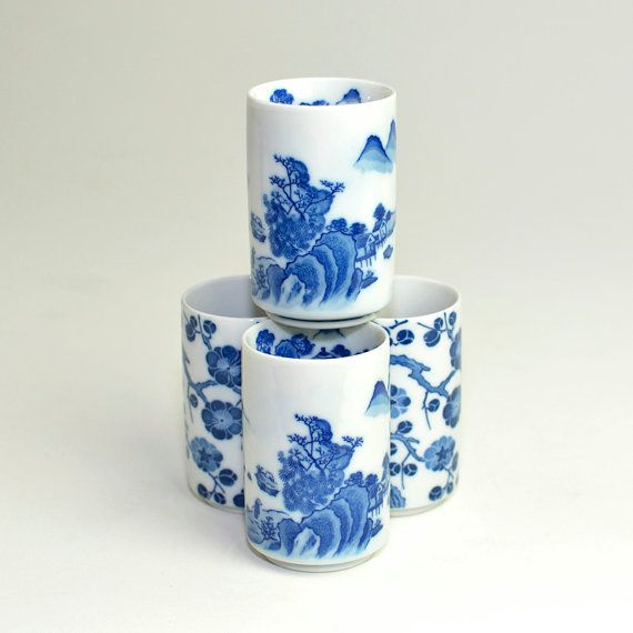 Cobalt Blue Japanese Traditional Art Porcelain Tumblers