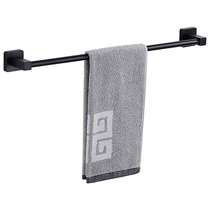 Towel Bar Stainless Steel 16 Inch Bathroom Black Towel Bar Rack Holder Matte Black 16 Inch 40 Cm Review With Images Towel Bar Black Towels Plastic Storage Bins