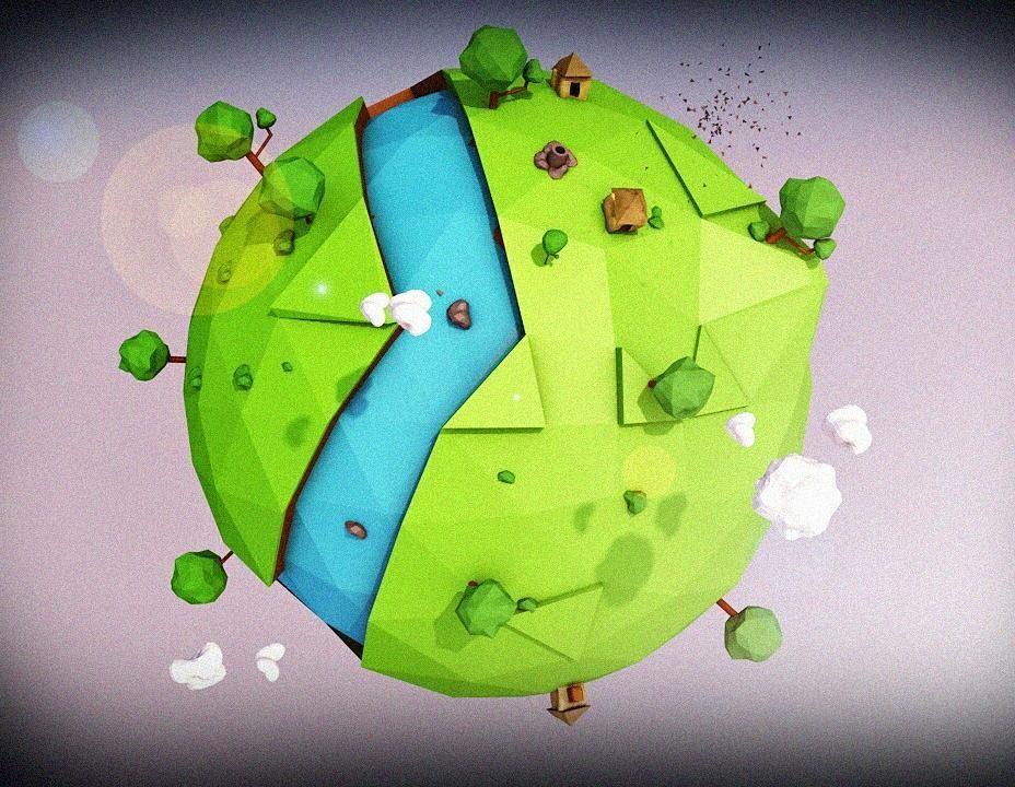 E 001 Low Poly Planet Lowpoly Lowpolyart Design 3d Artwork