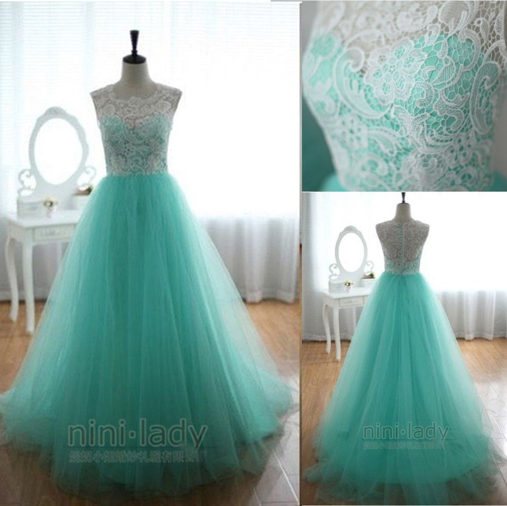 New Long Aqua Lace Net Evening Party Dress Prom Wedding Bridal Gowns Size 6-16 #Ninilady #Aline #Formal