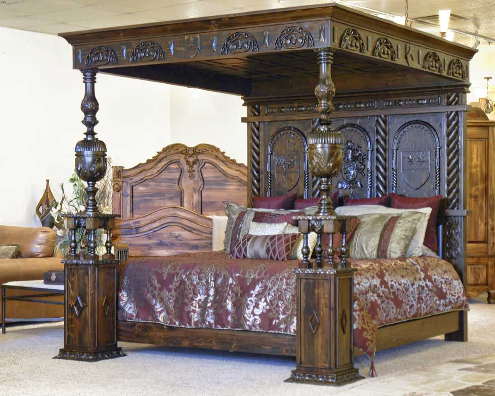 Luxury Design Bed Lit Coffre Phoenix Hand Carved Medieval Canopy Bed Inspired By Ireland S Castle
